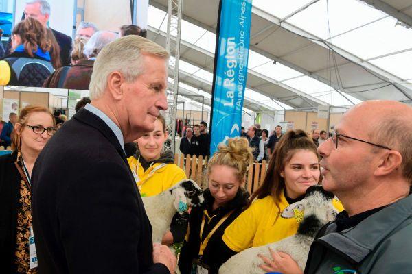 Michel Barnier, candidat à l'investiture LR, a fait une halte sur le stand des ovins.