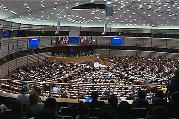 La salle des votes au Parlement européen à Bruxelles.