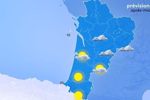 Presque du grand soleil pour les Pyrénées-Atlantiques mais encore de la pluie pour le Poitou les Charentes et le Limousin.