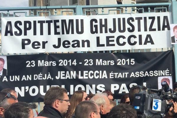 23/03/15 - Rassemblement à la mémoire de Jean Leccia devant le Conseil départemental de la Haute-Corse