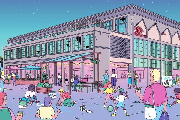 Un lieu d'urbanisme transitoire pensé par plusieurs collectifs de la scène lyonnaise