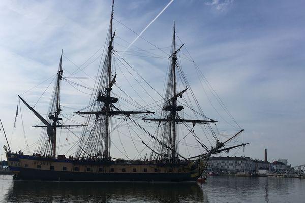 L'Hermione arrive au port de Saint-Nazaire, le 23 mai 2019
