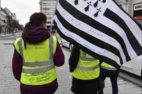 Manifestation des Gilets jaunes à Rennes