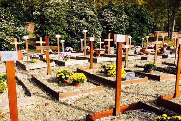 Le carré des personnes isolées au cimetière de Rouen.