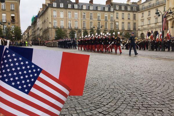 Défilé pour commémorer l'entrée en guerre, décisive, des Etats-Unis en 1917