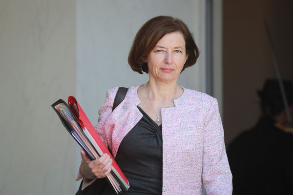 La ministre des Armées Florence Parly quittant l'Elysée après une réunion de cabinet le 27 mai 2020.