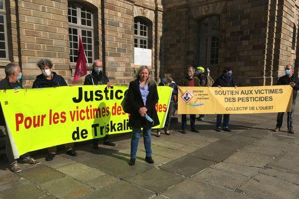 Edith Le Goffic, ce mercredi 14 octobre, juste avant le début de l'audience à la Cour d'appel à Rennes