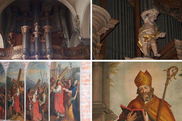 Le buffet d'orgues de l'abbaye de Maroilles, un chemin de croix et une représentation de Saint Humbert