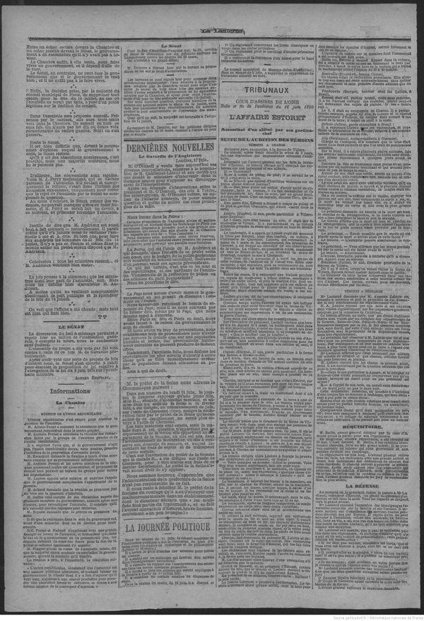 """Extrait du journal """"La Lanterne"""" du 19 juin 1880, récit du procès d'Estoret."""
