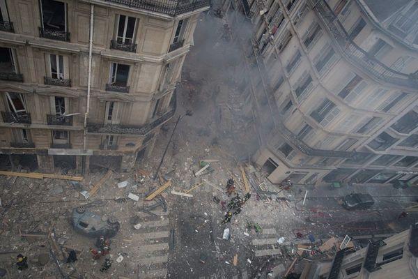 Les dégâts de l'explosion de la rue de Trévise, survenue le 12 janvier 2019 à Paris
