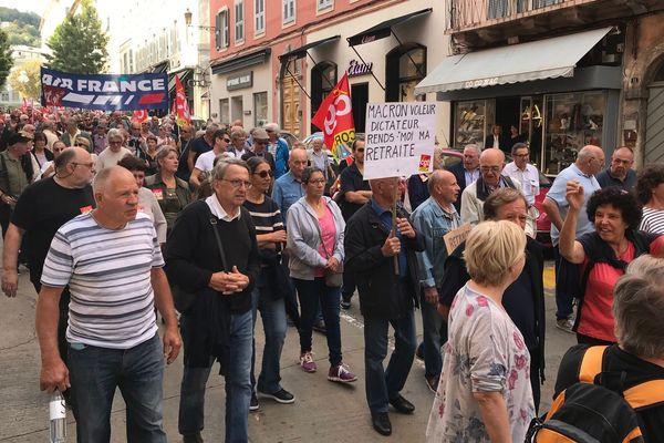 09/10/2018 - Journée de grève nationale, environ 300 manifestants dans la rue à Bastia (Haute-Corse)