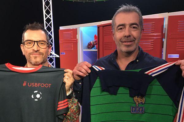 Olivier Pédémas, entraîneur de l'équipe de Sablé-sur-Sarthe aux côtés d'Anthony Brulez pour l'émission #USBFOOT