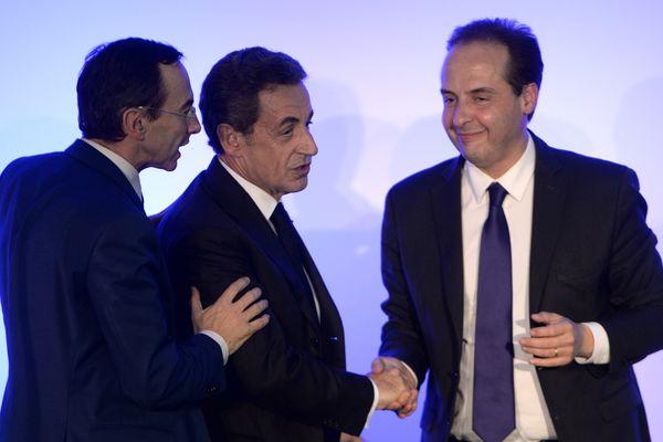 Nicolas Sarkozy et Jean-Christophe Lagarde vantent l'unité de la droite au meeting de Bruno Retailleau à Andard près d'Angers.