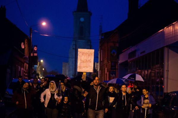 """Manifestation """"Croisilles sans migrants"""" le 13 octobre dernier."""