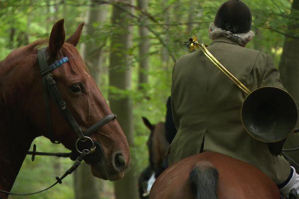 Chasseur à cheval durant une partie de chasse à courre - Illustration