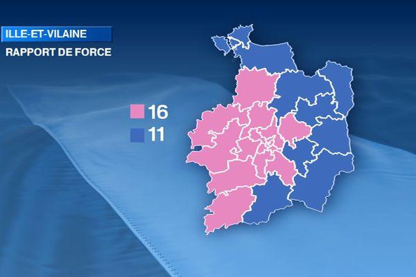Couleur politique de l'Ille-et-Vilaine à l'issue des élections départementales 2015. Rose : gauche - Bleu : droite