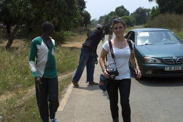 Camille Lepage en reportage ici à Damara à 70 kilomètres de Bangui.