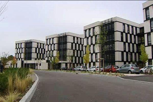 Les bâtiments du  nouveau siège de la CARSAT de Bourgogne Franche-Comté dans le quartier Valmy à Dijon
