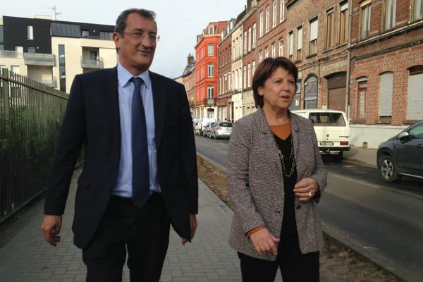 Martine Aubry et François Lamy ce samedi midi à Lille.