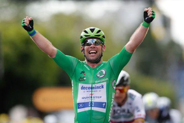 Le cycliste Mark Cavendish a remporté l'étape de la veille entre Tours et Châteauroux, sur ce Tour de France 2021.