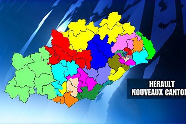 Carte des nouveaux cantons dans l'Hérault pour les élections départementales de mars 2015