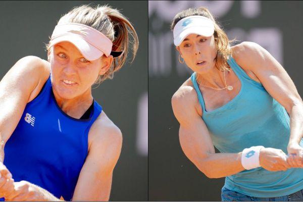 Fiona Ferro, à gauche et Alizée Cornet lors de la finale du tournoi de Lausanne.