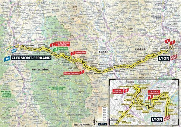 Voici le détail du parcours de la 14e étape du Tour de France entre Clermont-Ferrand et Lyon.
