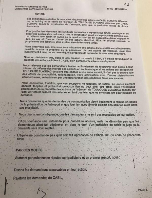 Pour le Tribunal de commerce de Paris c'est à l'Etat de demander le séquestre des actions de la Casil.