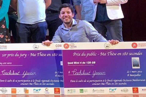 """Yassin Tachikart, gagnant de la finale régionale du concours """"Ma thèse en 180 secondes"""" à Montpellier le 7 mars 2019"""