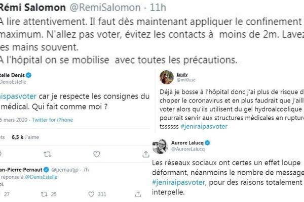 Des tweets de Rémi Salomon, Estelle Denis, Jean-Pierre Pernault, Aurore Lalucq et Emily.