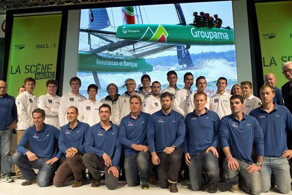 Présentation des équipes Team Groupama, engagé pour la Coupe de l'America au salon nautique de Paris le 5 décembre 2015
