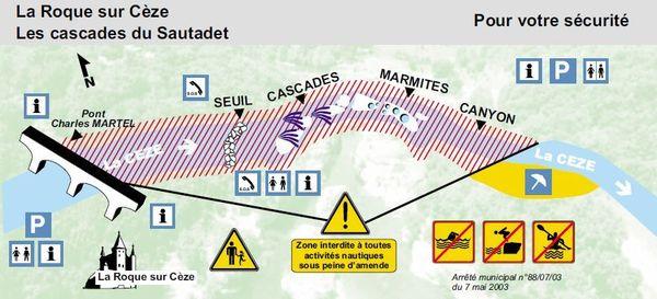 De nombreux accidents ont lieu aux cascades du Sautadet sur la commune de La Roque sur Cèze, dans le Gard. Pourtant, la baignade est uniquement autorisée en aval des cascades, à l'endroit signalisé où la Cèze reprend son lit, une centaine de mètres après les cascades.