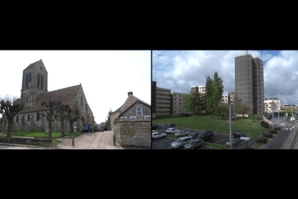 A gauche Hérouville dans le Val d'Oise, à droite Hérouville dans le Calvados