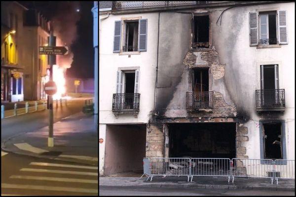 Un violent incendie a totalement détruit un restaurant rue des Perrières à Dijon, dans la nuit mardi 21 septembre 2021.