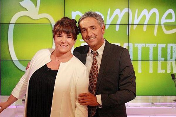 """Alexandra Huctin et Jan-Lou Janeir, présentateurs de l'émission """"pomme à gratter"""""""