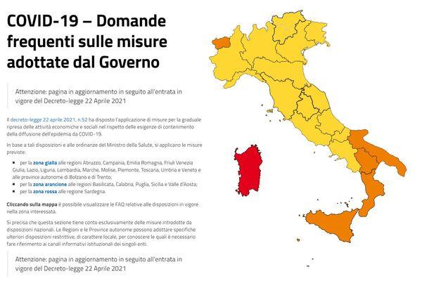 """Les régions que l'Italie a repassé en """"zone jaune"""" ce lundi 26 avril 2021."""