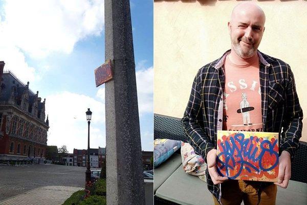 Une toile de l'artiste graffeur VYRÜS découverte par un habitant de Calais (62)