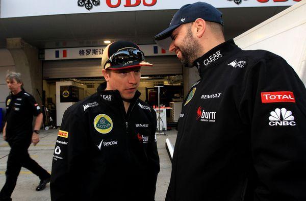 Kimi Räikkönen et Gérard Lopez au Grand Prix de Chine en 2013.