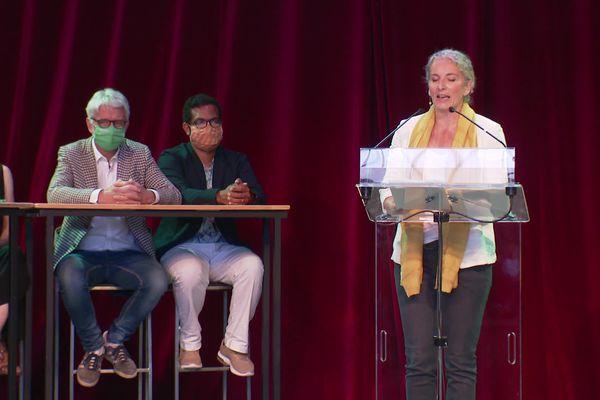 Delphine Batho, candidate à la primaire des écologistes pour la future élection présidentielle, présente ses idées à Lyon ce week-end, lors de la convention de Génération ecologie