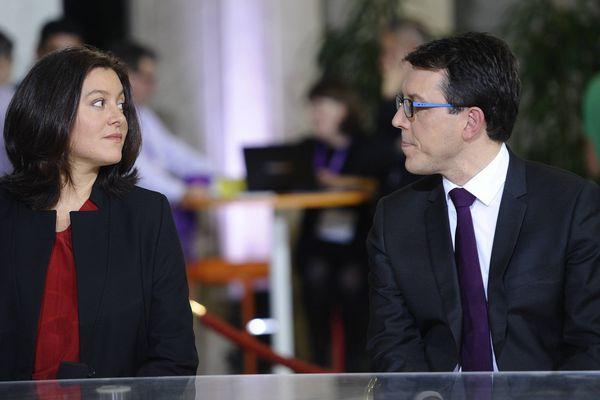 Sophie Bringuy candidate EELV et Christophe Clergeau (Parti Socialiste), sur le plateau de France 3 Pays de la Loire.