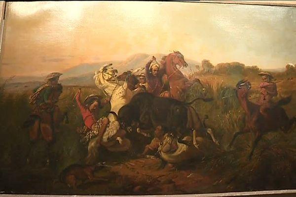 """Record pour la vente aux enchères du tableau de Raden Saleh : La chasse au taureau sauvage"""", qui atteint 7,2 millions d'euros."""