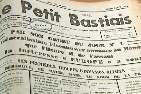La Une du Petit Bastiais, du 7 juin 1944, annonce le Débarquement des premières troupes alliées.
