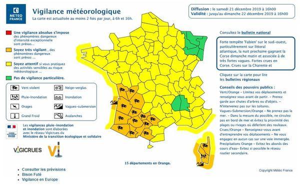 Carte vigilance météo du 21/12/2019, bulletin de 16h