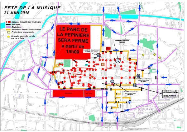 Plan de la ville de Nancy pour la fête de la Musique 2015. Cliquez sur l'image pour l'agrandir.