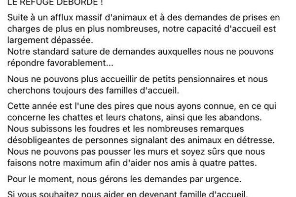 La SPA de Besançon alerte sur les réseaux sociaux