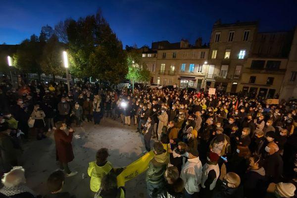 Rassemblement sur la parvis des droits de l'Homme à Bordeaux contre le projet de loi Sécurité globale, mardi 17 novembre 2020.