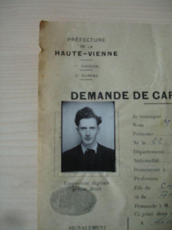 Photo de la carte d'identité de Marcel Mangel, délivrée en 1943, par la préfecture de la Haute-Vienne.