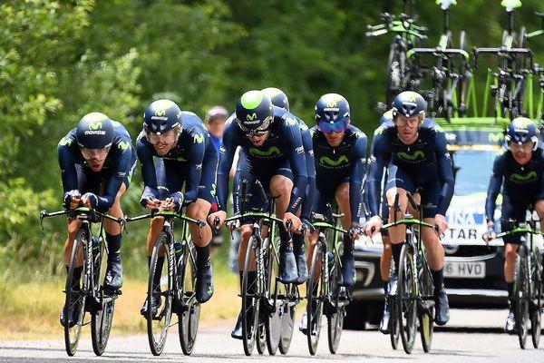 L'équipe Movistar sur le Critérium du Dauphiné 2015