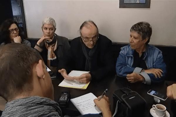 Le président de la LDH Corsica (au milieu) et des membres de la ligue donnaient une conférence de presse à Ajaccio, le samedi 14 mai 2016.
