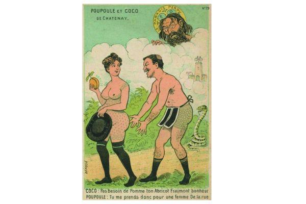 Ce type de caricature anti-cléricale, montrant le curé de Châtenay et sa compagne illégitime, se vendait à l'époque sous forme de carte.